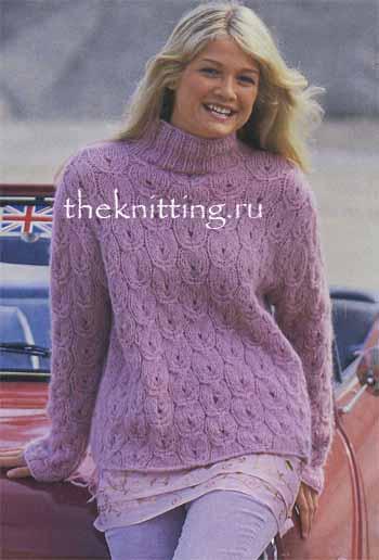 Вы по достоинству оцените этот великолепный розовый свитер из мягкой пряжи, выполненный ажурным узором...