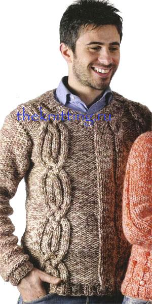 пуловер спицами мужской - Мужские