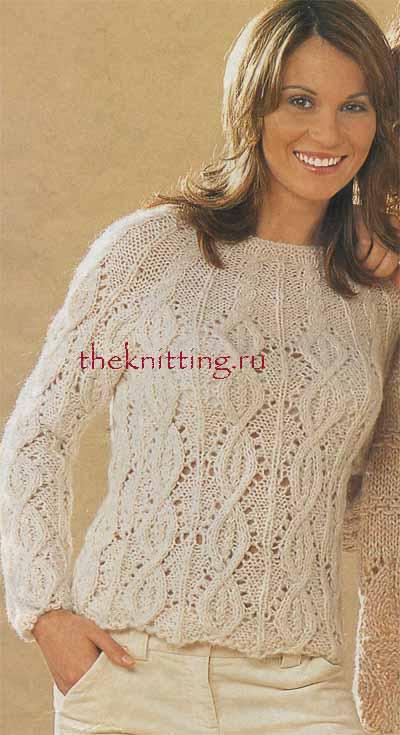 схема вязания белого ажурного свитера с короткими рукавами спицами.