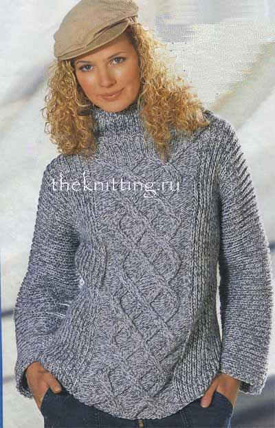 Вязаный женский свитер с описанием